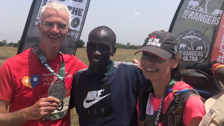 The money the runners raised will pay for rhino rangers' training