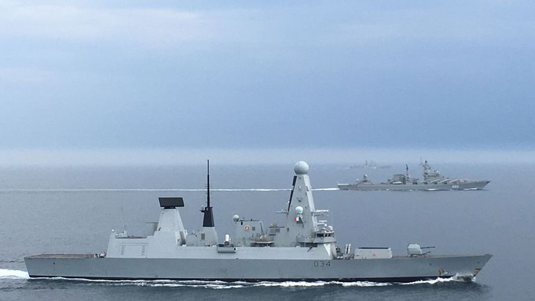 HMS Diamond shadowing two Russian warships, destroyer Severomorsk and cruiser Marshal Ustinov , as they passed through the English Channel