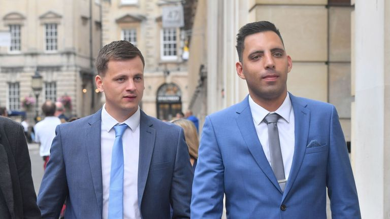 Ryan Ali (right) and Ryan Hale during a lunch break at Bristol Crown Court where they are accused of affray.