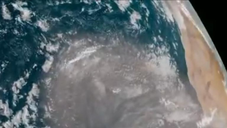 Satellite image shows Saharan dust crossing Atlantic towards Spain and Portugal