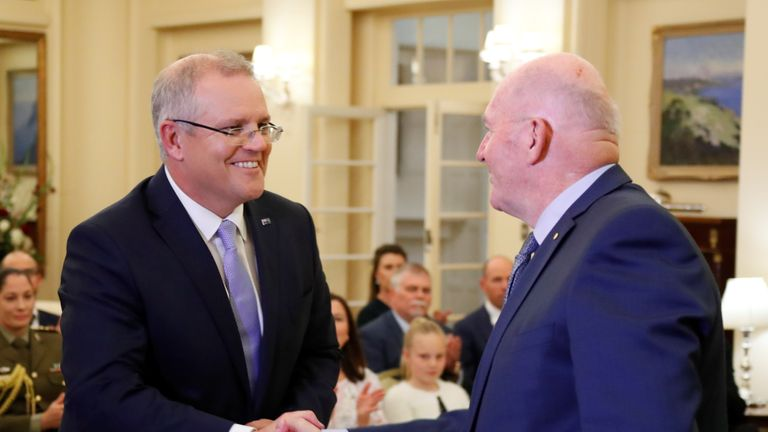 Scott Morrison was sworn in in Canberra