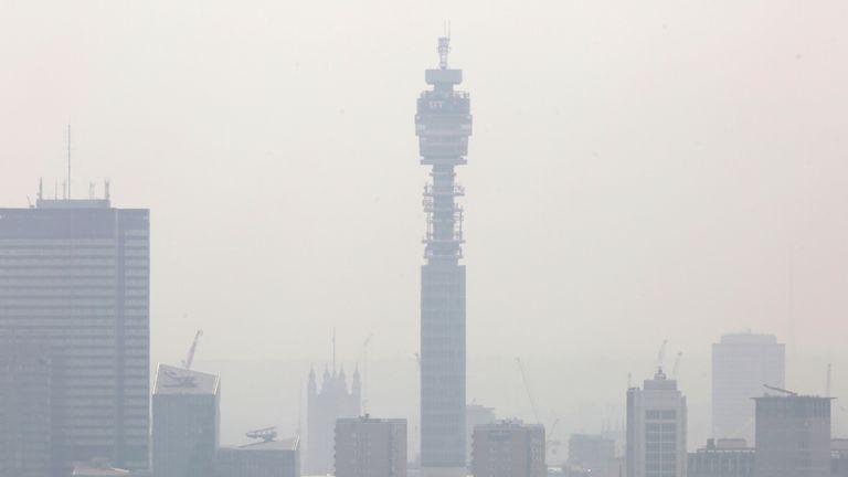 A haze of smog over London