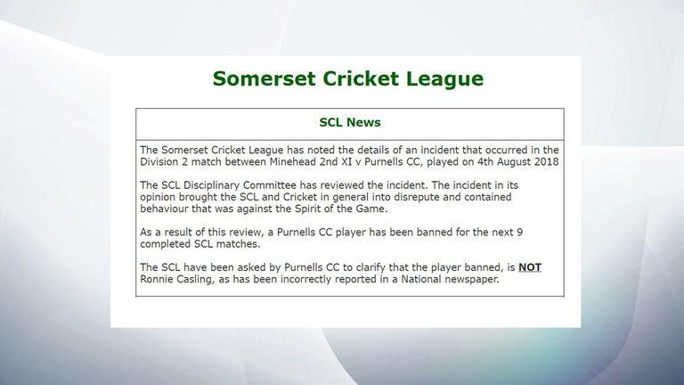 The Somerset Cricket League statement