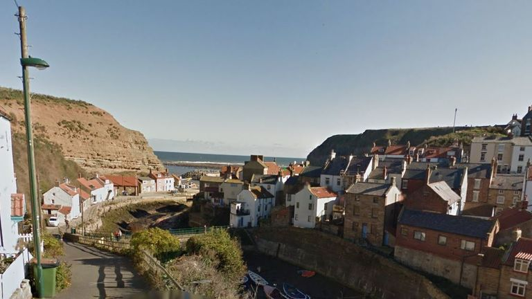 The girl died from a suspected rock fall in Staithes. Pic: Google Street View