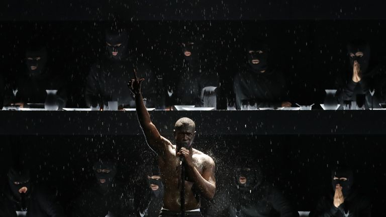 British grime and hip-hop artist Stormzy performs during the BRIT Awards 2018 ceremony and live show in London on February 21, 2018.