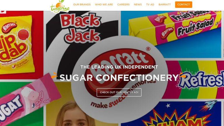 Screen shot of Tangerine Confectionary's website