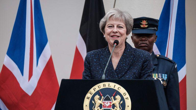 Theresa May spoke in Nairobi, Kenya, during her tour of Africa