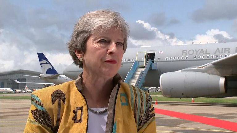 Theresa May lands in Abuja, Nigeria to discuss trade and security as part of her 3-day trip to the Africa