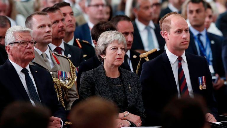 Theresa May and Prince William sat together at the service