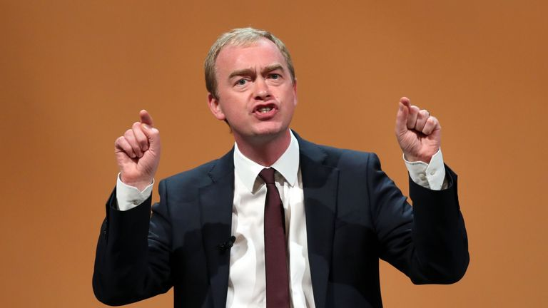 Tim Farron MP makes a speech at the Liberal Democrats conference at the Bournemouth International Centre