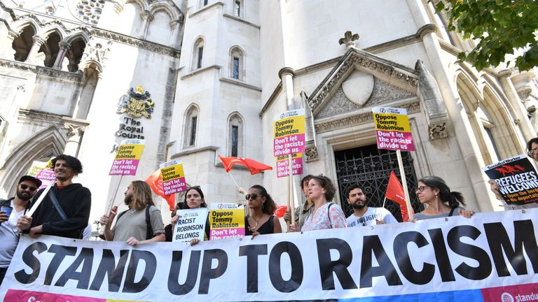 Demonstrators against Tommy Robinson outside the Royal Courts of Justice in London, where the former English Defence League (EDL) leader has been freed on bail by the Court of Appeal after winning a challenge against a finding of contempt of court.