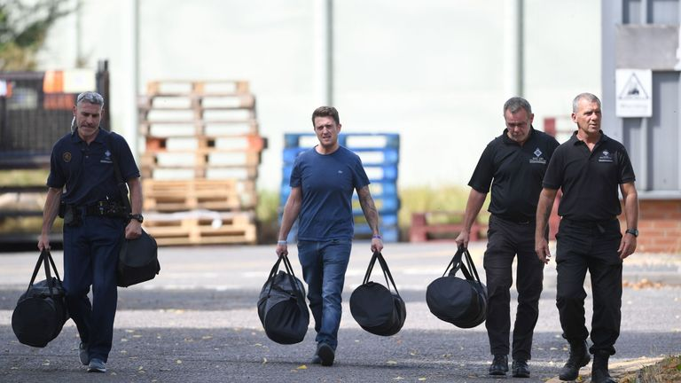 Former English Defence League (EDL) leader Tommy Robinson leaves Onley Prison, near Rugby,