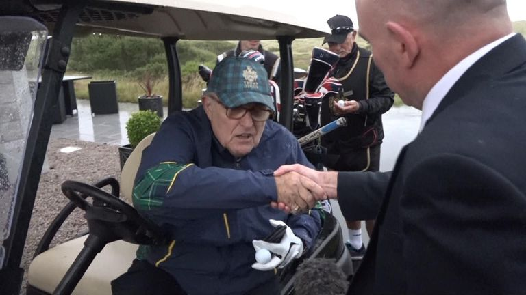 Donald Trump's lawyer Rudy Giuliani at the president's golf course near Aberdeen