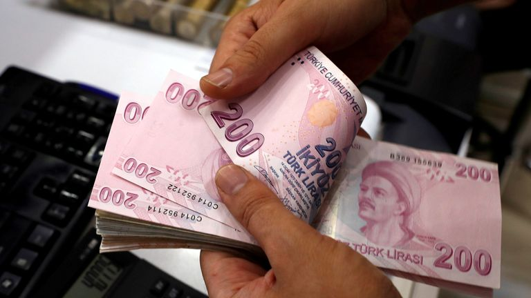 The lira hit new lows against the US dollar and the euro