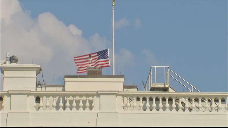 US flag flies at half mast folllowing McCain death