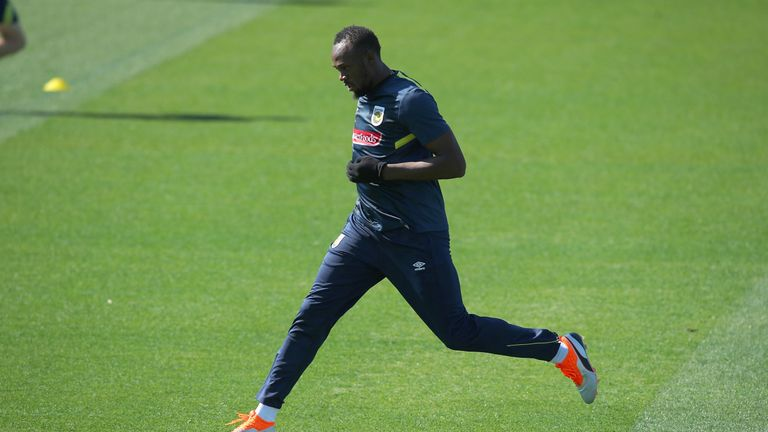 during Usain Bolt's first training session with the Central Coast Mariners A-League squad at Central Coast Stadium on August 21, 2018 in Gosford, Australia.