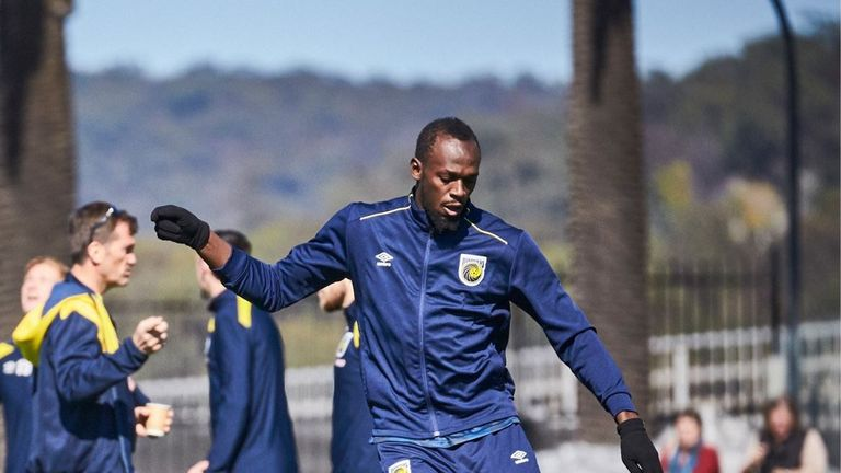 Bolt said he was committed to making a success of his trial. Pic: @CCMariners