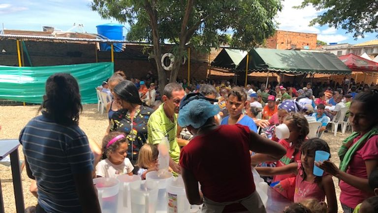Families gather in the Colombian town of Cucuta