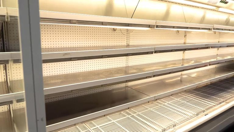 Supermarket shelves are bare even if you can afford food