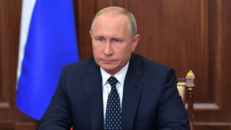 President Vladimir Putin speaks during an address to the nation concerning a pension reform on August 29