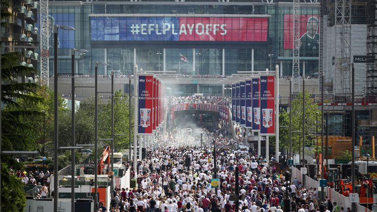 Crowds outside Wembley during the English Football League play offs
