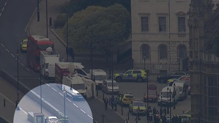 The scene from above in Westminster where a car has crashed into a barrier