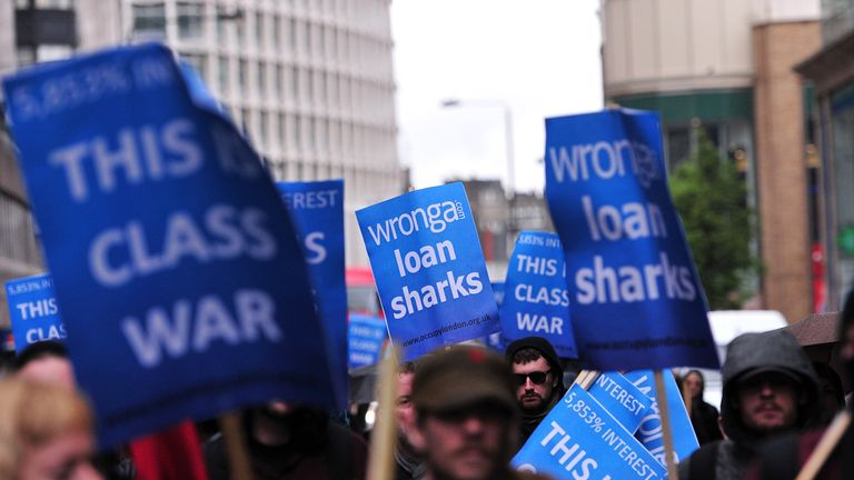 Protesters demonstrate against Wonga in central Londonin 2014