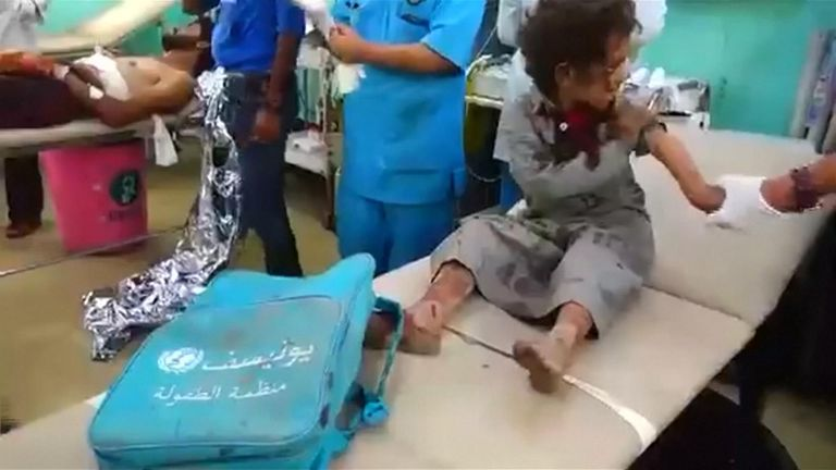 Dozens of people, many of them children, have been killed in a Saudi-led coalition air strike in rebel-held northern Yemen.