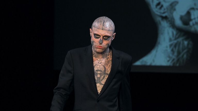 Rick Genest was known for his striking tattoos