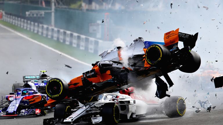 Fernando Alonso involved in a major crash at Spa