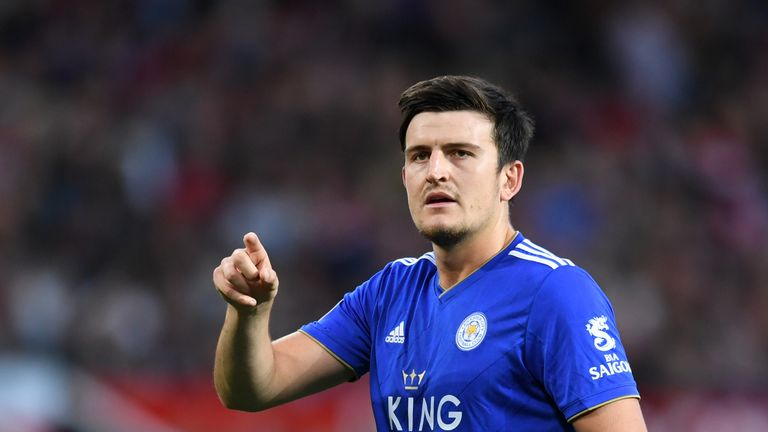 Harry Maguire during the Premier League match between Manchester United and Leicester City