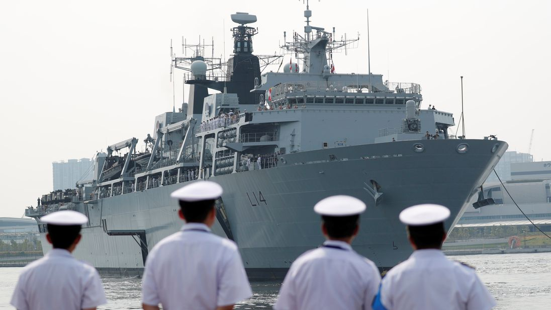 HMS Albion, a British Royal Navy amphibious assault ship, pictured in Tokyo, Japan, August, 2018