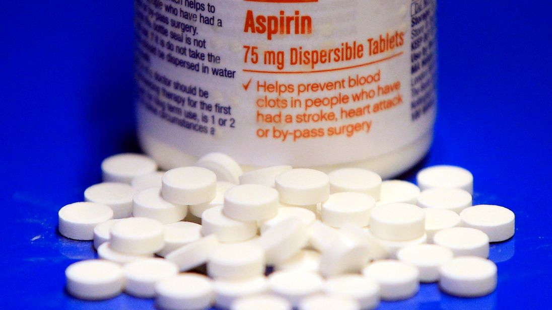 Aspirin tablets and a bottle