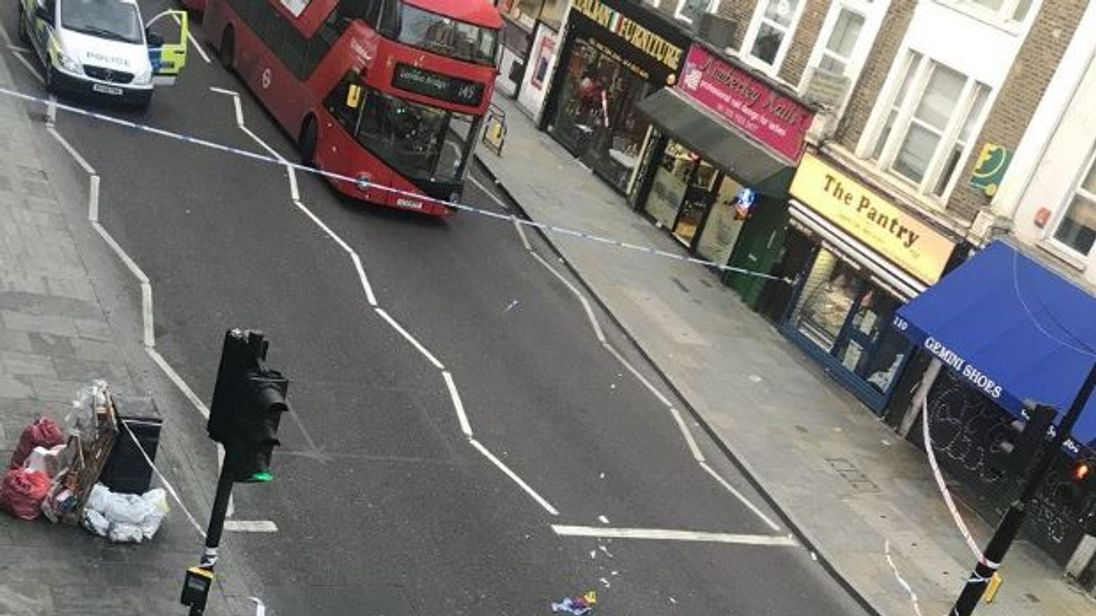 The scene after a collision in Kingsland High Street, east London