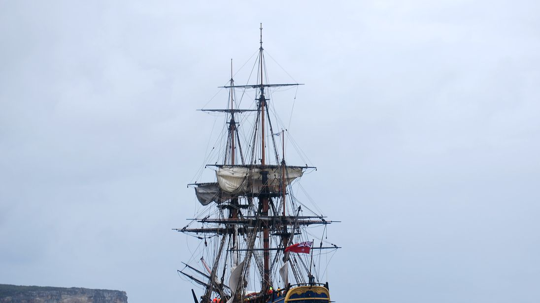 A replica of James Cook's Endeavour