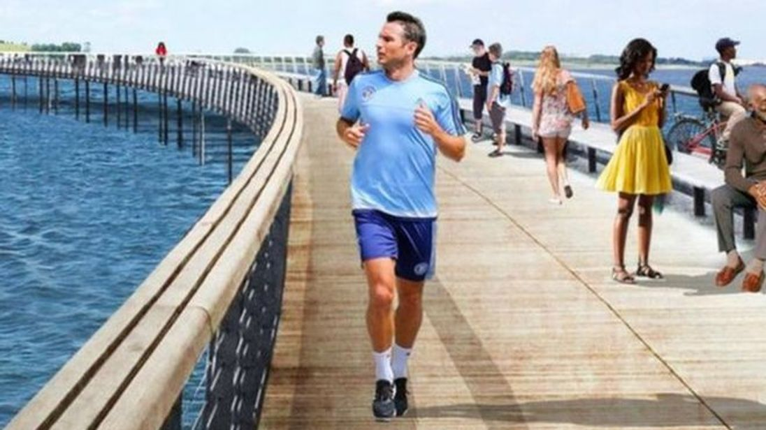 A superimposed image of Frank Lampard on a promotional image for an upcoming New York park. Pic: New York Governor's Office