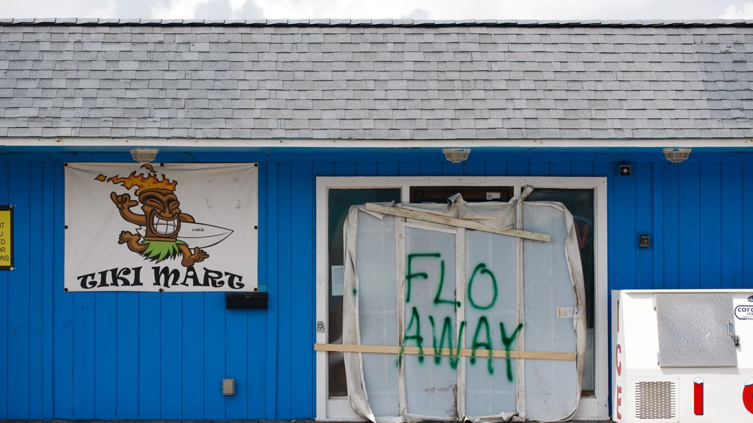 Businesses have boarded up ahead of the arrival of the storm