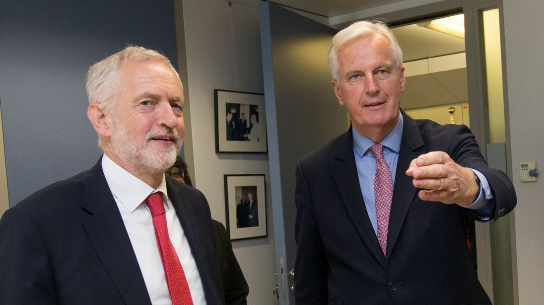 EU Brexit negotiator Michel Barnier (R) welcomes British Labour Party leader Jeremy Corbyn on July 13, 2017 in Brussels. Britain's Brexit bill, the subject of a furious row this week between Brussels and London, will not pose a 'big threat' to public finances, the government's fiscal watchdog said on July 13. / AFP PHOTO / POOL / OLIVIER HOSLET (Photo credit should read OLIVIER HOSLET/AFP/Getty Images)