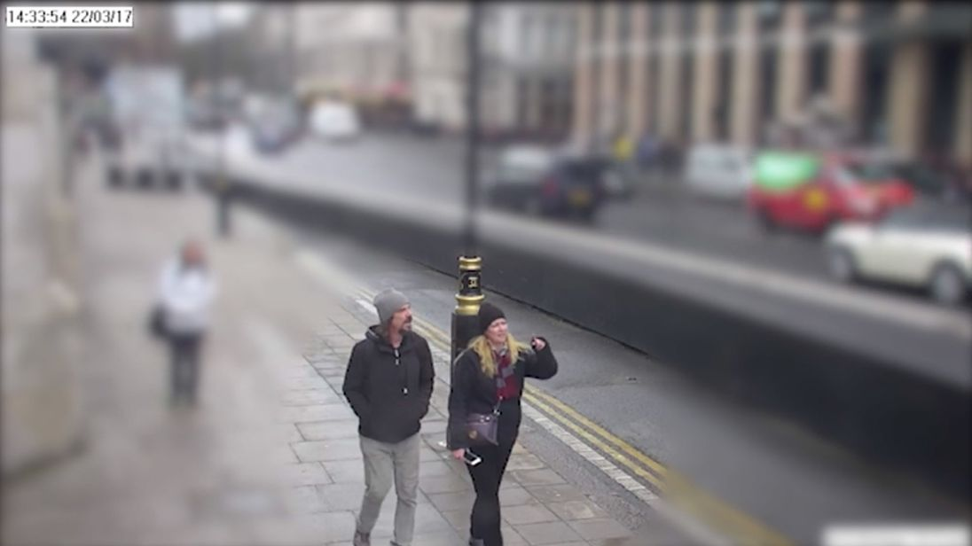 CCTV image dated 22/03/17 issued by the Metropolitan Police of Kurt Cochran, one of the victims of the Westminster Bridge terror attack, walking on to the bridge with his wife Melissa. The inquest into the death of Mr Cochran, along with Andreea Cristea, Aysha Frade, Leslie Rhodes and PC Keith Palmer, continues at the Old Bailey.