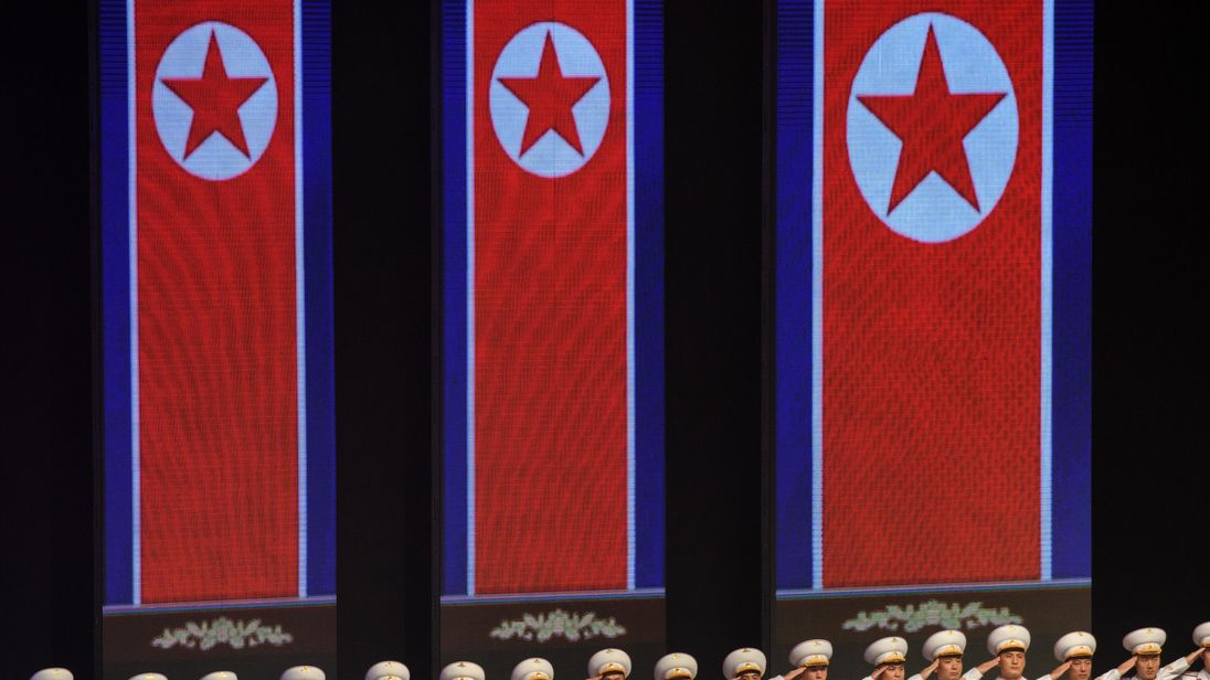 People taking part in a concert at Pyongyang Indoor Stadium on Saturday