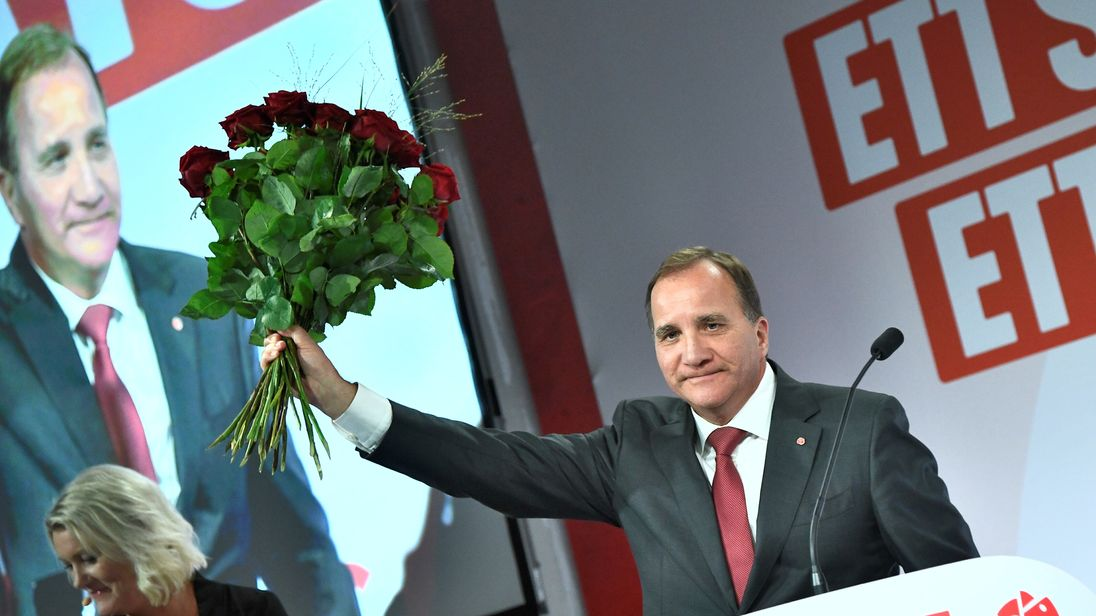 Sweden's Prime Minister and leader of the Social democrat party Stefan Lofven speaks at an election party at the Fargfabriken art hall in Stockholm, Sweden September 9, 2018. TT News Agency/Claudio Bresciani/via REUTERS ATTENTION EDITORS - THIS IMAGE WAS PROVIDED BY A THIRD PARTY. SWEDEN OUT. NO COMMERCIAL OR EDITORIAL SALES IN SWEDEN.