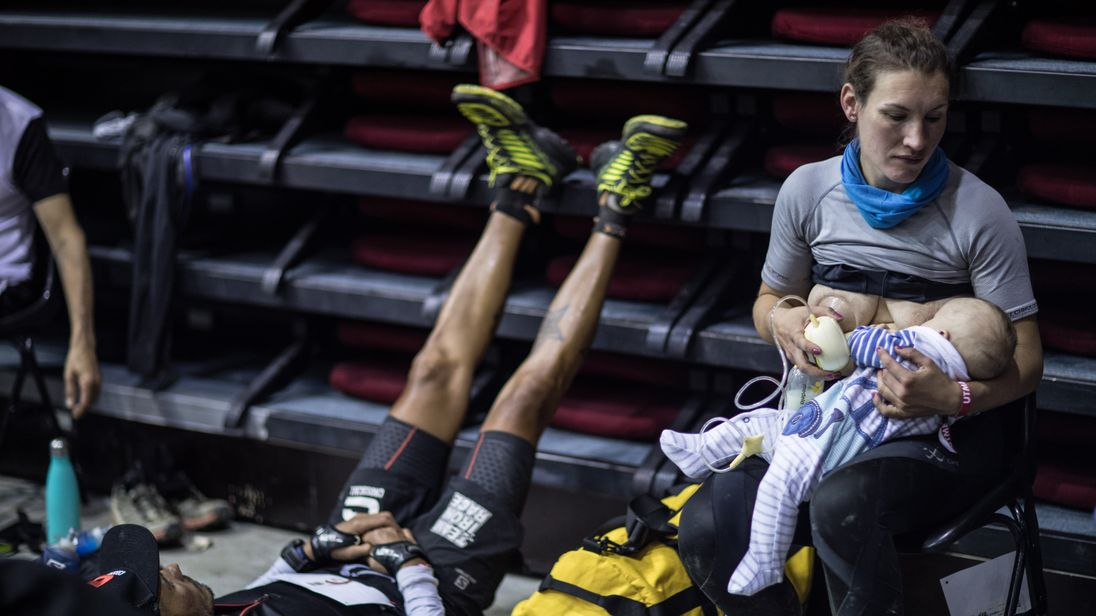 Sophie Power stops to breastfeed Cormac during Mont Blanc. Pic: Alexis Berg / Strava