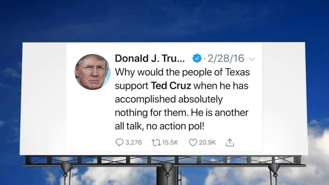 GoFundMe raises almost $10k for Texas billboard of Trump's anti-Cruz tweet