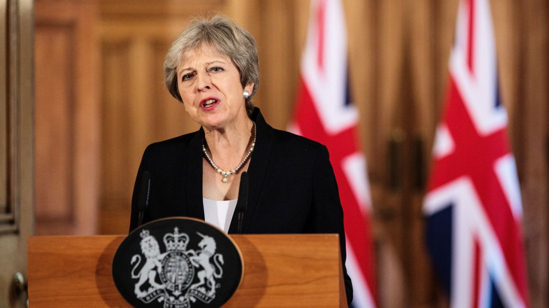Theresa May makes a statement on Brexit negotiations with the European Union at Number 10 Downing Stree