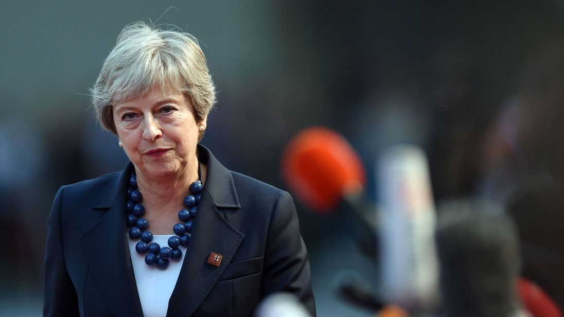 Britain's Prime Minister Theresa May arrives at the Felsenreitschule prior to an informal dinner as part of the EU Informal Summit of Heads of State or Government in Salzburg, Austria on September 19, 2018. (Photo by Christof STACHE / AFP) (Photo credit should read CHRISTOF STACHE/AFP/Getty Images)
