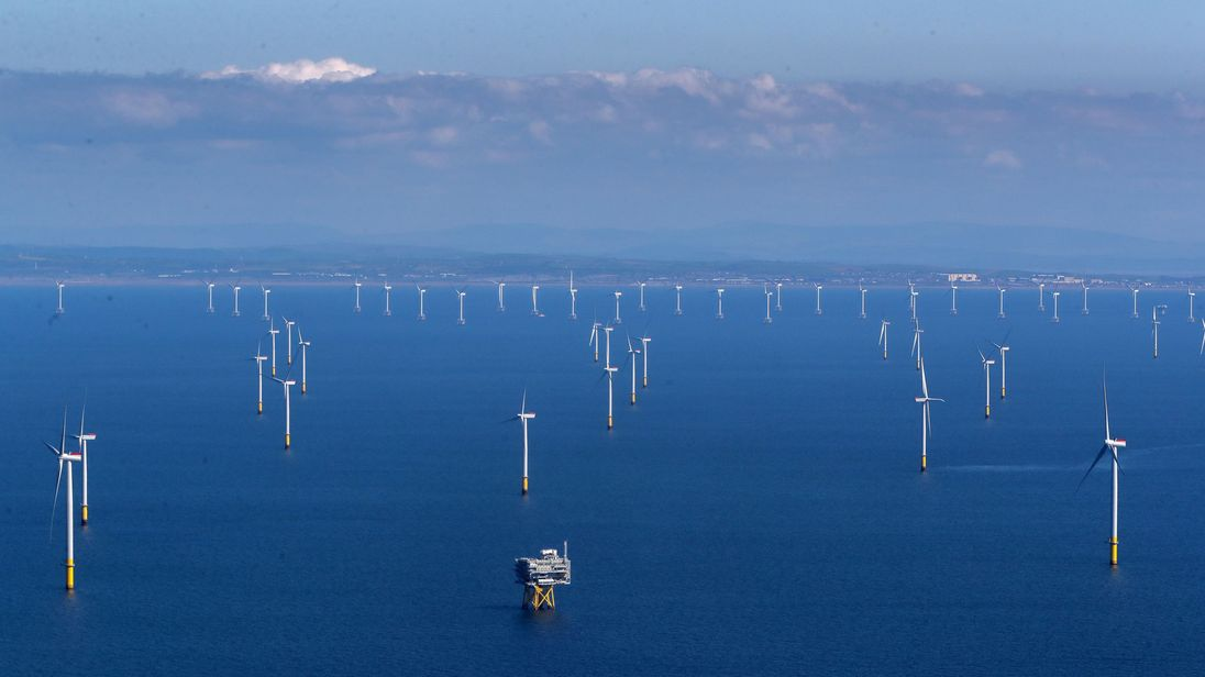 The Walney Extension in the Irish Sea off the coast of Cumbria, the world's largest working offshore wind farm