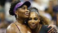 Venus Williams congratulates sister Serena (right) after their third-round match at the US Open