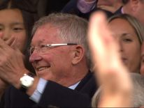 Sir Alex Ferguson returns to Old Trafford after brain surgery.