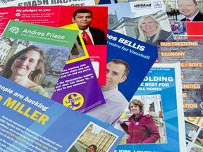 General Election leaflets, UK 2015 - Stock image Protest, UK, Conservative Party - UK, Election, Labor Party