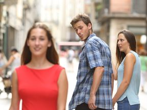 The 'distracted boyfriend' photo was taken by Antonio Guillem and used as a meme